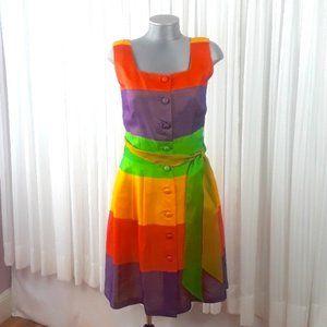 Liz Claiborne Silk Rainbow Striped Dress, 10
